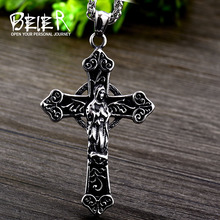Beier 316L stainless steel Classic Cross Allah Protects Mens Pendant Necklace Punk Gothic Fashion Jewelry LLBP8 007P