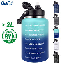 Quifit garrafa de água de aço inoxidável 2l 64 oz com vácuo de palha isolado parede dupla esportes thermo caneca manter líquidos quentes ou frescos