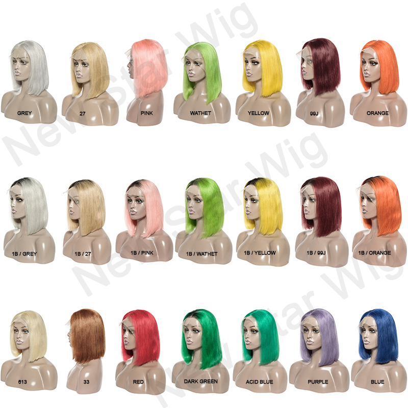 Wig Pre-Plucked Red/Blue/Purple/Pink Straight