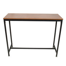 Pub Bars Wooden Table Vintage Rectangular Table with Metal F