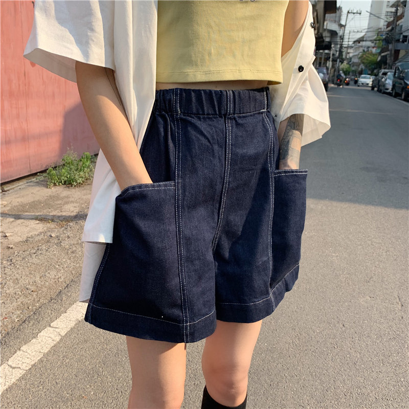 Alien Kitty High Waist Cowboy Shorts Women Streetwear Elastic-Waist Sexy Denim 2020 New Summer Korea Fashion Jeans Loose Shorts