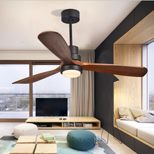 vintage Ceiling Fan Wood Remote Control lamp Fans With Lights Industrial Decor DC AC 220V 110V Modern Nordic 3 Wooden Blade cheap NoEnName_Null 10KG 3432 52 inchs Ceiling Fans 10 yeears Glass iron Traditional