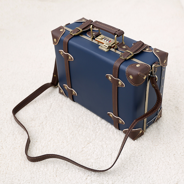 Urecity Vintage et mignon petite valise en cuir PU femmes hommes sac à main