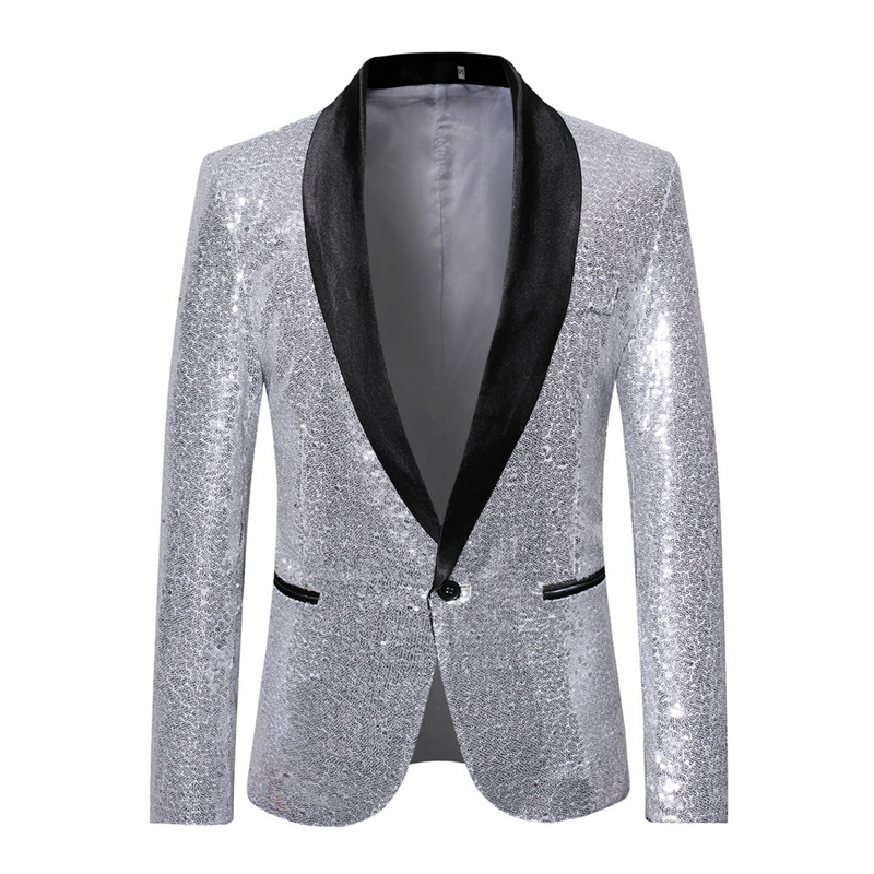 <font><b>Mens</b></font> <font><b>Sequins</b></font> Suit <font><b>Blazer</b></font> <font><b>Jacket</b></font> Brand Shiny Glitter Embellished <font><b>Blazer</b></font> Male Slim DJ Club Stage <font><b>Blazer</b></font> Formal Wedding image