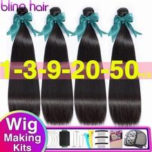 Bling Haar Großhandel Gerade Bundles Brasilianische Haarwebart Bundles 100% Remy Menschliches Haar Verlängerung 28 30 32 34 Zoll Natürliche farbe