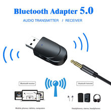 Bluetooth 5,0 Audio 2 en 1 receptor transmisor Mini estéreo Bluetooth USB 3,5mm Jack para coche Kit TV/PC auriculares altavoz Z0605(China)