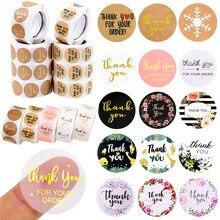 Étiquettes autocollantes rondes de remerciement faites à la main, 1 pouce, pour cadeau, décoration de fête de mariage, papeterie pour journal intime, 500 pièces