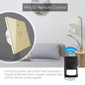 Image 2 - Goud Wifi Slimme Lichtschakelaar RF433 Draadloze Afstandsbediening Glass Panel Light Switch Werkt Met Alexa Echo Google Home 1 /2/3 Gang