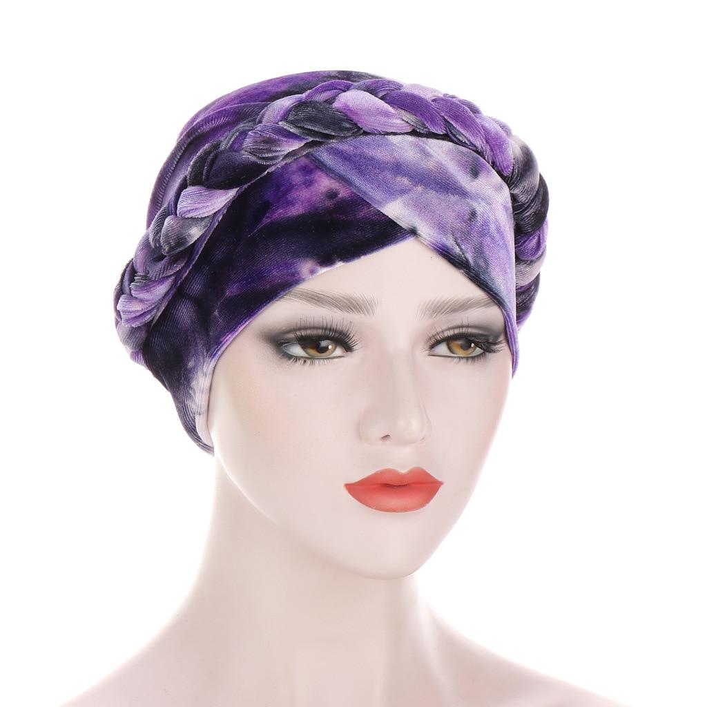 Коса тюрбан шапки для женщин Предварительно Связанные бархатные