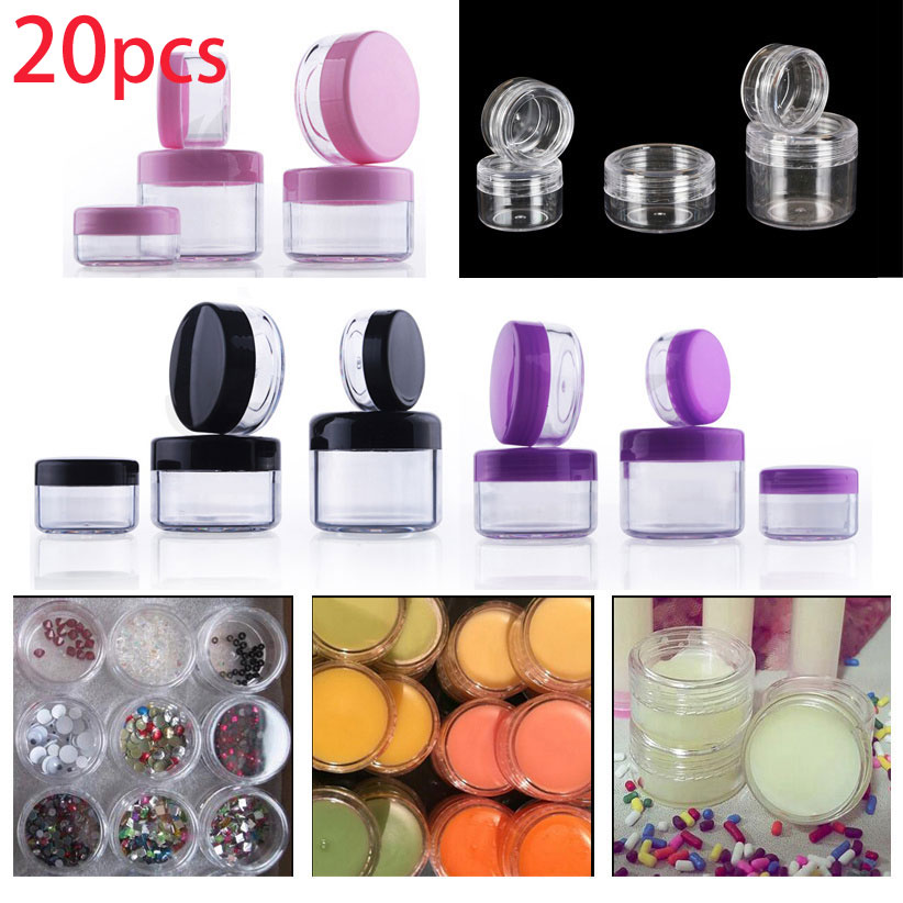 20pcs X 2g-20 Gram Empty Clear Plastic Sample Container Round Cosmetic Jar Cream Lotion Nail Make Up Powder Pot + 4 Mini Spatula