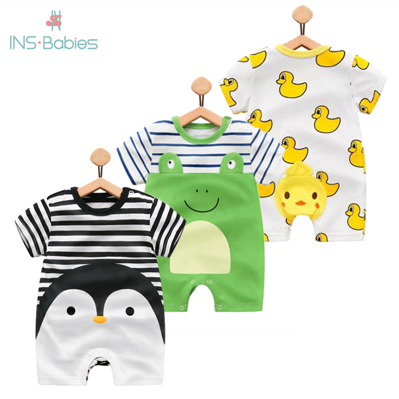 100% Pure Cotton Baby Girl Romper Summer Short Sleeved Cartoon Animal Jumpsuit Toddler Cute Boutique Clothes For Baby Clothing