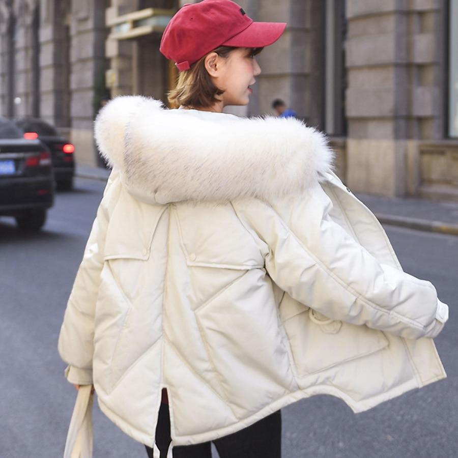women coat women 2019 fashion fur collar hooded short Loose Jacket women winter cotton wadded warm thicken   parka   outwear female