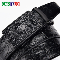 CARTELO-Cinturón de cuero con hebilla automática para hombre, cinturón masculino de cuero con estampado de cocodrilo de alta calidad, informal, con hebilla automática