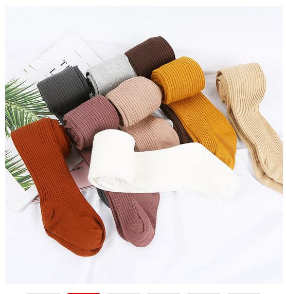 2019 Baby Autumn Winter Tights Hot Baby Toddler Kid Girl Ribbed Stockings Cotton Warm Pantyhose Solid Candy Color Tight 0-4Years