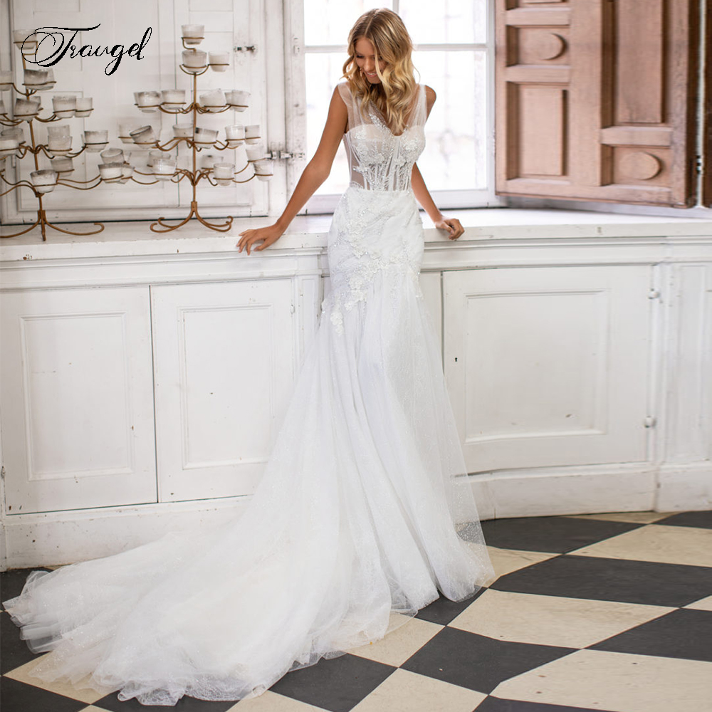 Traugel V-Neck Mermaid Lace Wedding Dresses Elegant Appliques Sleeveless Backless Bride Dress Court Train Bridal Gowns Plus Size