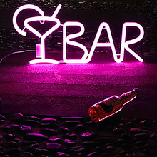 Battery Powered Bar Light Sign LED Neon Letter Night Light Party Warm White Creative Neon BAR LED Light Sign Wall Hanging Light