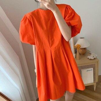 [EWQ] 2021 New Summer Women Vintage Loose High Waist Slim Was Thin Elegant Folds Puff Sleeve O-neck Mini Dress ZA4580 1