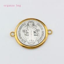 5PCS/Lots Catholic Saint St Benedict Cross Alloy connector gold and silver necklace DIY Jewelry 65.5x51.5mm F-62