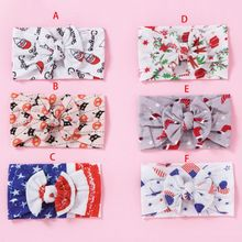 Girls Knot Hairband Cute Christmas Patterns Stretchy Headwear for Baby Infants