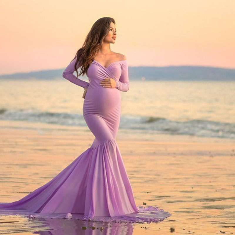 Long Sleeve Maternity Dresses Sexy V Neck Gown Maxi Long Photography Dress For Pregnant Women Pregnancy Dress For Photo Shoot