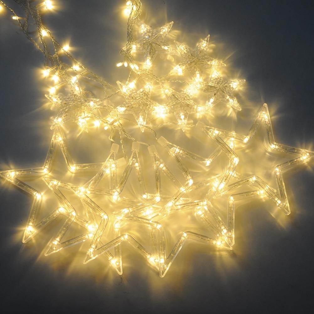 Image 2 - 2020 New LED String Lights Pentagram Star Curtain Light Fairy Wedding Birthday Christmas Lighting Indoor Decoration Lights 220V-in Pendant & Drop Ornaments from Home & Garden