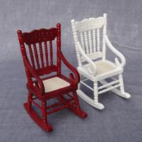 1/12 Wooden Mini Dollhouse Rocking Chair Model Toy DIY Miniature Scenery Accessory For Dolls House Accessories Decor Toys gifts