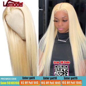 613 Lace Front Wig 13x6 Straight Lace Front Human Hair Wigs Malaysian Remy HD Transparent Lace Closure Wig Blonde Frontal Wig(China)