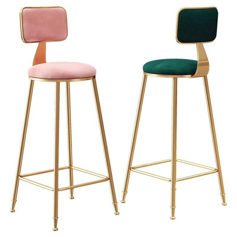 Nordic Light Luxury Bar Chair Ins Simple Net Red Bar Stool Front Desk Cafe Restaurant Leisure Back High Stool
