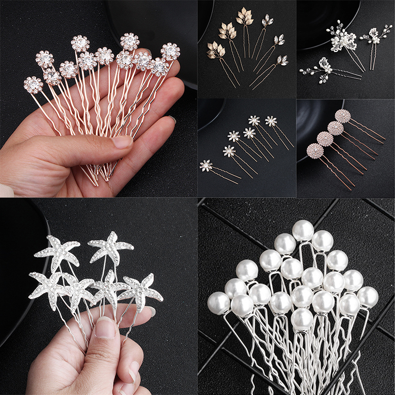 3/4/6/12/20Pcs Bridal Hairpin Pearls Women Jewelry Accessories Elegant Handmade Bride Headwear Silver Head Clips Charm Headdress