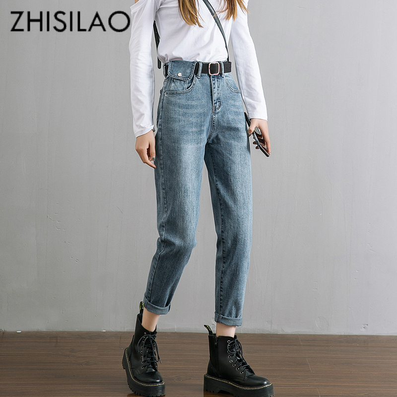 Harem High Waist Jeans Women Vintage Straight Boyfriend Mom Jeans Mujer Retro Denim Pants 2020 Blue Black Jeans Casual