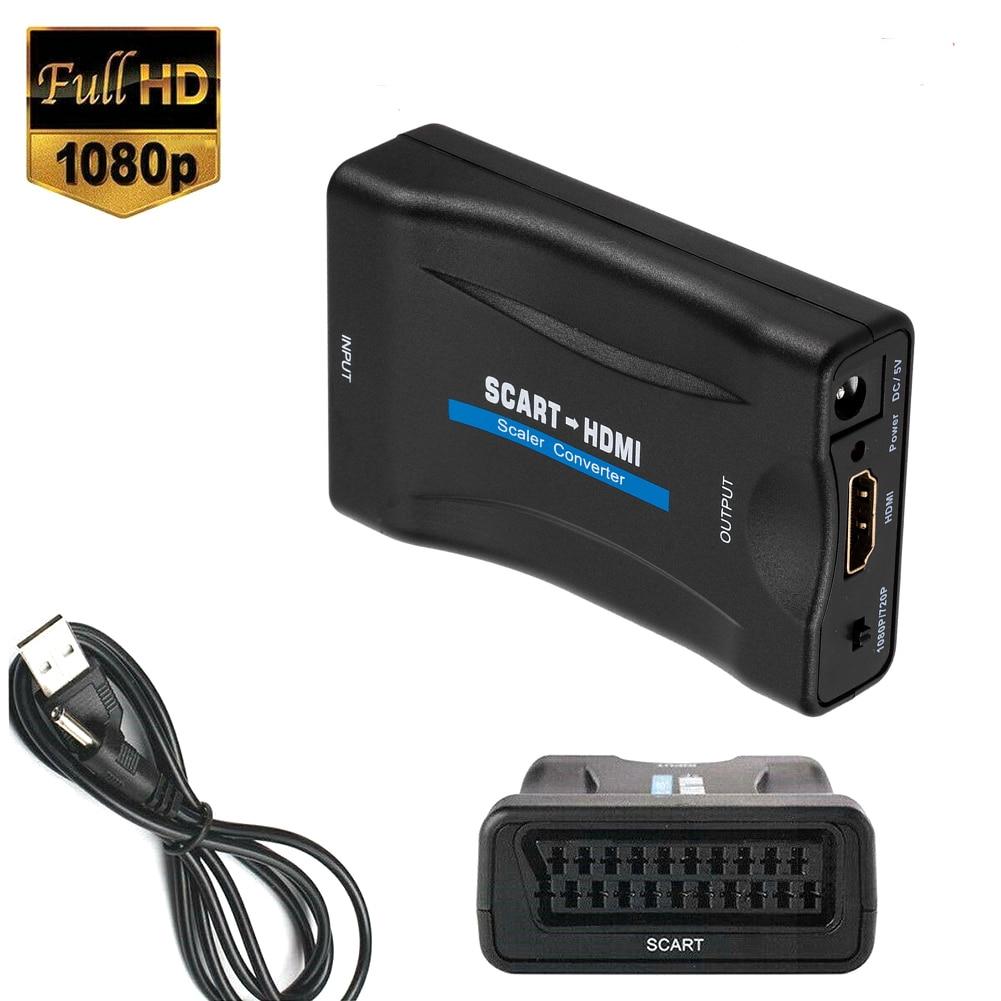 1080P SCART HDMI-совместимый преобразователь видео аудио с USB-кабелем для HDTV Sky Box DVD ТВ сигнала высококлассный преобразователь