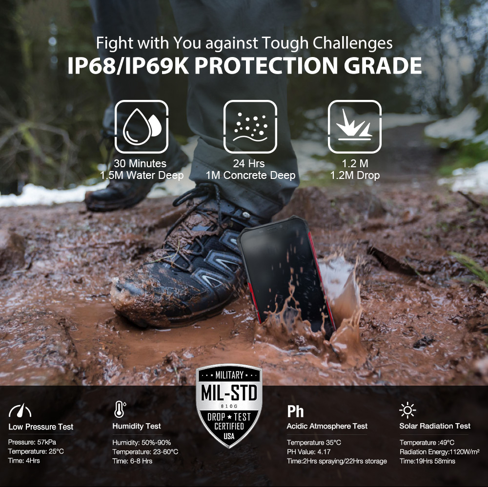 """H97b3075f345444d8aeb9c70b9bec9fcfU Ulefone Armor X3 Rugged Smartphone Android 9.0 IP68 Android 5.5"""" 2GB 32GB 5000mAh 3G Rugged Cell Phone Mobile Phone Android"""