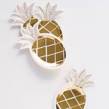 AVEBIEN 10inch Hawaiian Party Supplies New Hot stamping Pineapples Paper tray Disposable Dish Birthday Decoration