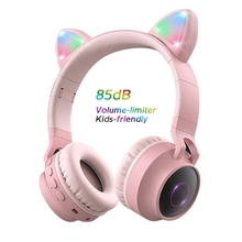 Cat ear Headphones Wireless Bluetooth 5.0 Headset Headset Hifi Music Stereo Bass LED Light Mobile Phone girl For iphone pc