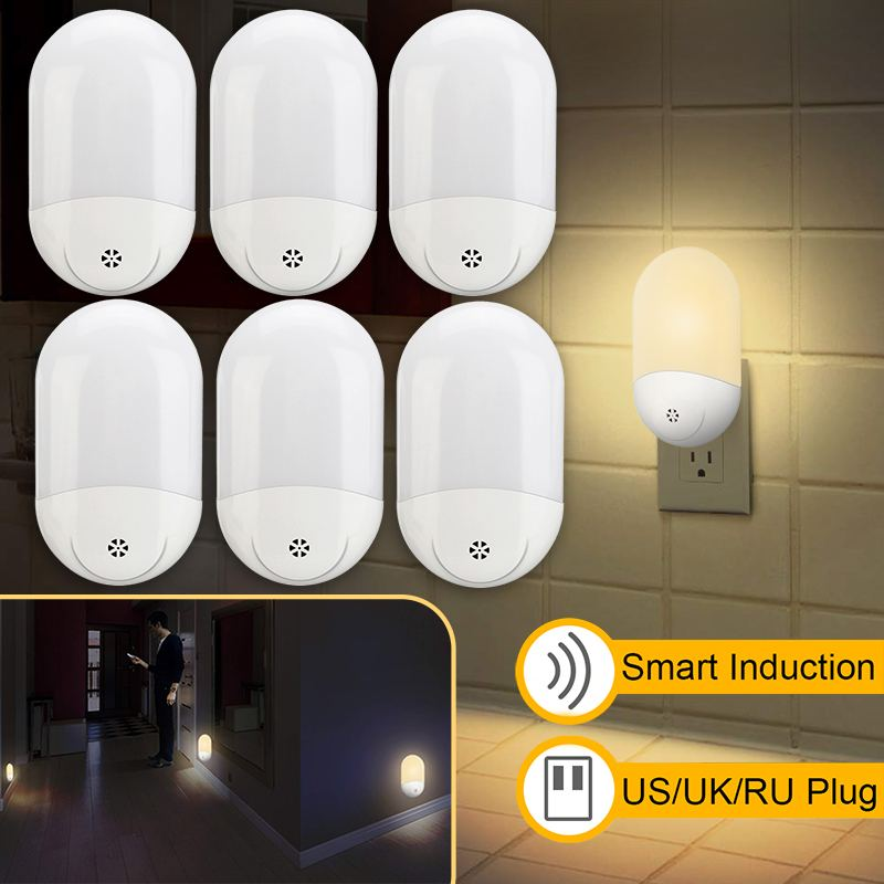 LED PIR Motion Sensor Smart Night Light AC 100-240V For Bathroom Home Lamp Lighting Bulb US UK EU Plug Warm White
