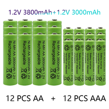 1.2V AA + AAA NI MH Rechargeable AA Battery AAA Alkaline 3000-3800mah For Torch Toys Clock MP3 Player Replace Ni-Mh Battery