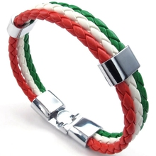 Jewelry Bracelet Bangle Italian Men's Women for Green White Red Flag Alloy