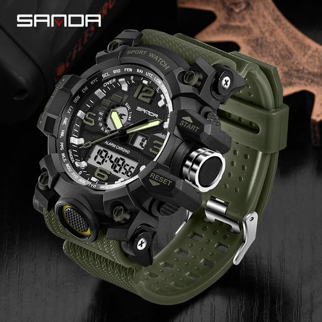 SANDA Top Luxury Watches Men Military Army Mens Watch 6