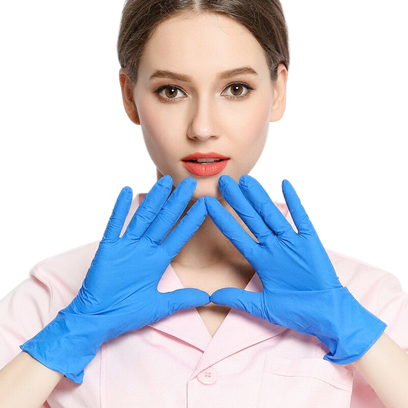 Fast Ship! 100Pcs Nitrile Gloves Blue And Blue Disposable Gloves For Household Cleaning / Rubber / Universal Garden Gloves Bj
