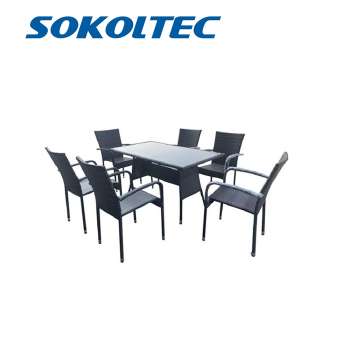 SOKOLTEC Modern Outdoor Garden Terrace Rattan Living Room Tables and Chairs Dining Room Furniture Set  OP2454 modern garden toy stools living room changing shoes chairs furniture plastic stool free shipping