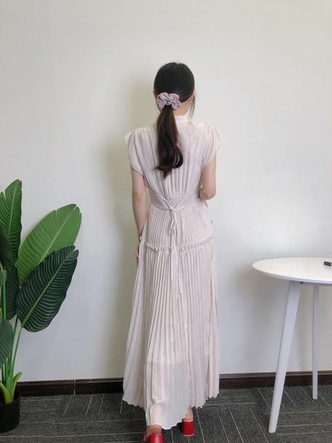 Kuzuwata Elegant Fresh High Waist Women Dress 2021 Spring New Pleated Drawstring Slim Waist Dresses Sexy Hollow Out Vestidos 5