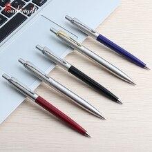 10 шт./лот набор шариковых ручек коммерческие металлические шариковые ручки для школы и офиса канцелярский подарок; ручка пресса стиля черные, голубые чернила