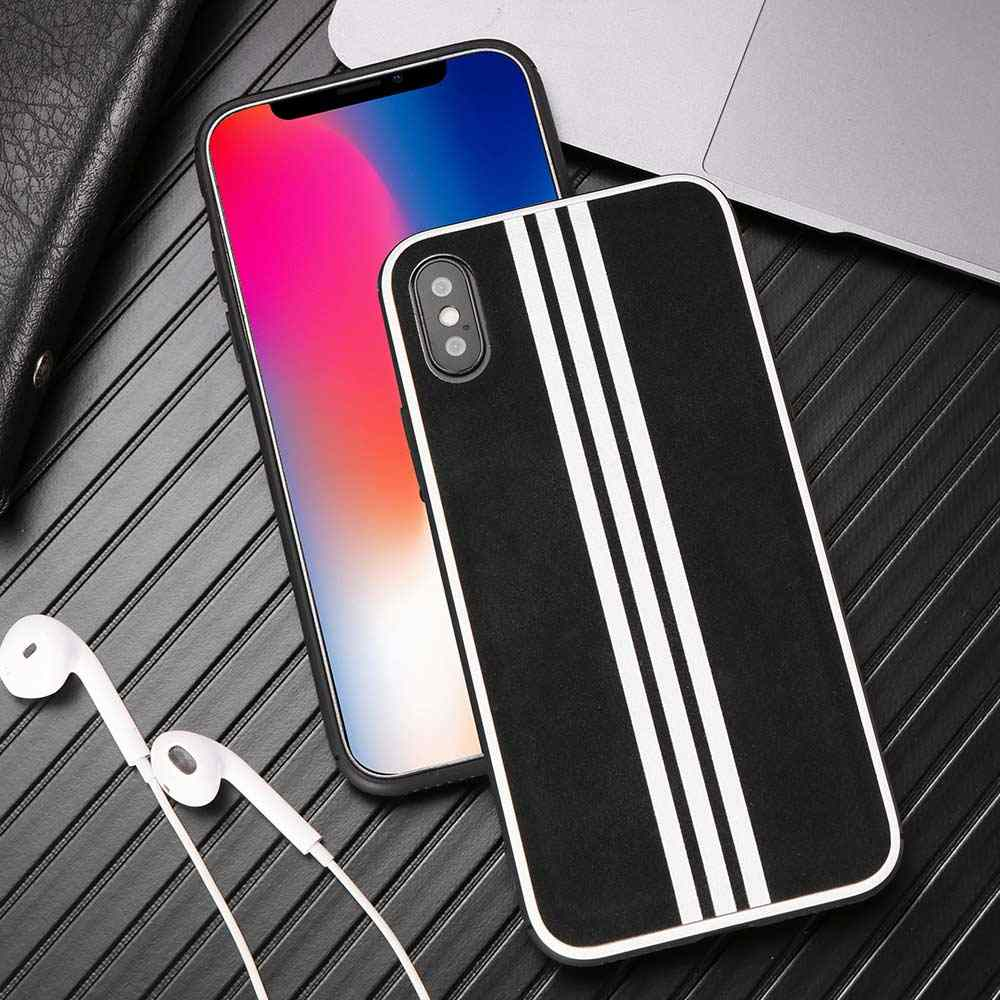 KISSCASE Luxe Suede Bont Leather Case Voor iPhone XS MAX XR X 8 7 6 6S Plus Back Cover coques Voor iPhone XS 7 Plus Gestreepte Case