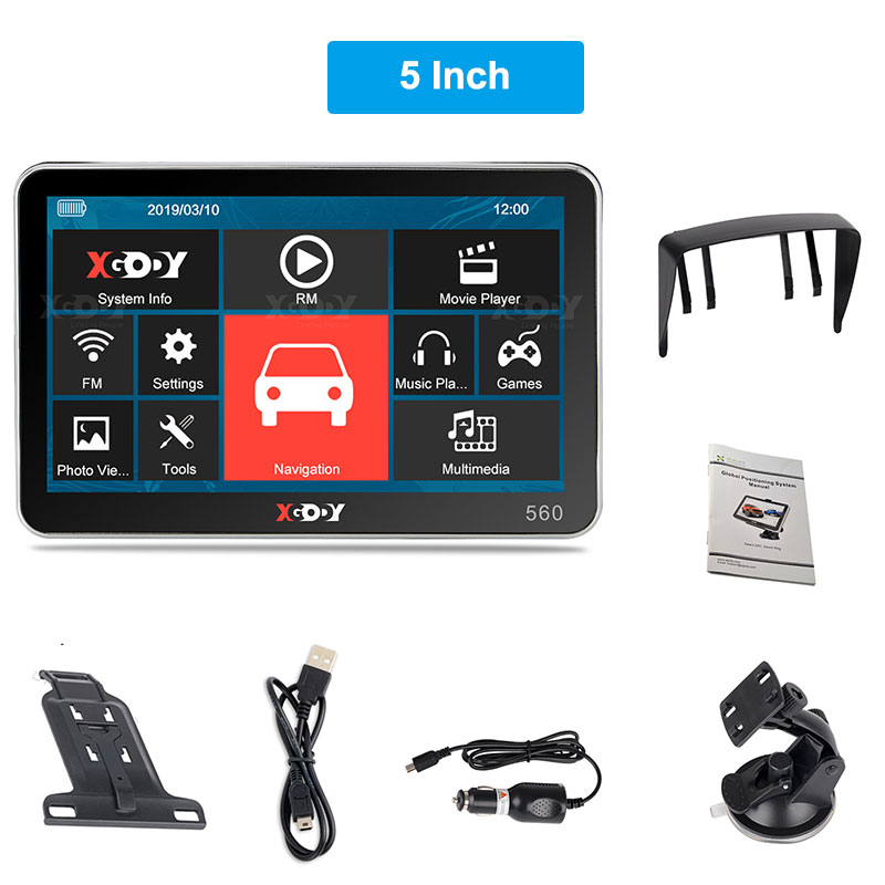 XGODY 5'' Car Truck Navigation 256M/ 128M+8GB Capacitive Touch Screen GPS Navigation Auto Russia Navitel Map Free Map 4