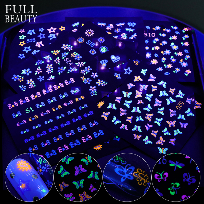 24pcs Luminous Colorful Butterfly 3D Stickers For Nails Acrylic Design DIY Flower Slider Adhesive Decal Glow In The Dark CHS1-24