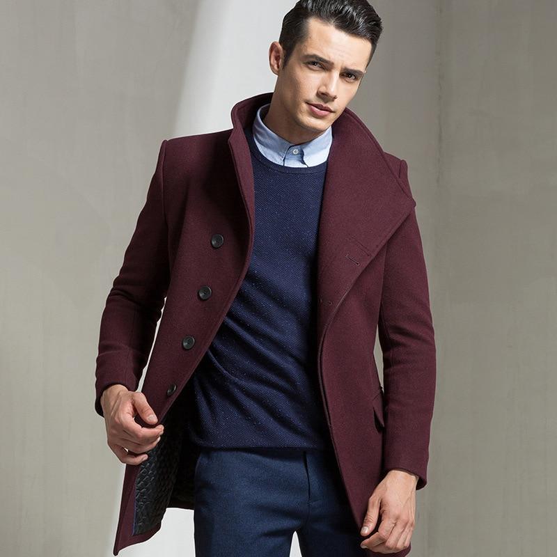 Men Autumn Winter Wool Coat Mens Casual Solid Color Warm Wool Blends Woolen Coat Male Trench Overcoat Mens Slim Fit Wool Blazer