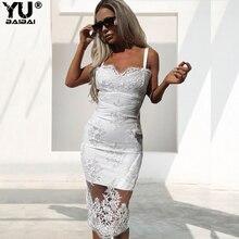 YUBAIBAI Sexy Black White Mesh Embroidery Summer Dress Women Dresses Bodycon Elegant V Neck Luxury Party Vestido Clothes