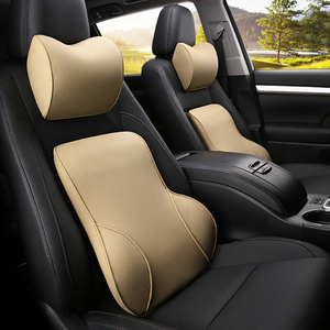 Image 3 - KKYSYELVA PU Car Auto Seat Supports Back Cushion And Headrest Neck Pillow Memory Foam Lumbar Back Support Interior Accessories