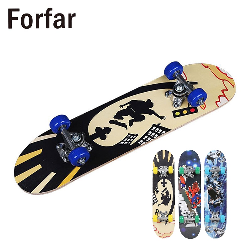 3 Style Complete Skateboard Skate Board Four Wheel Scooter Longboard Pulley Wheel Fashionable Ular For Children Teenagers