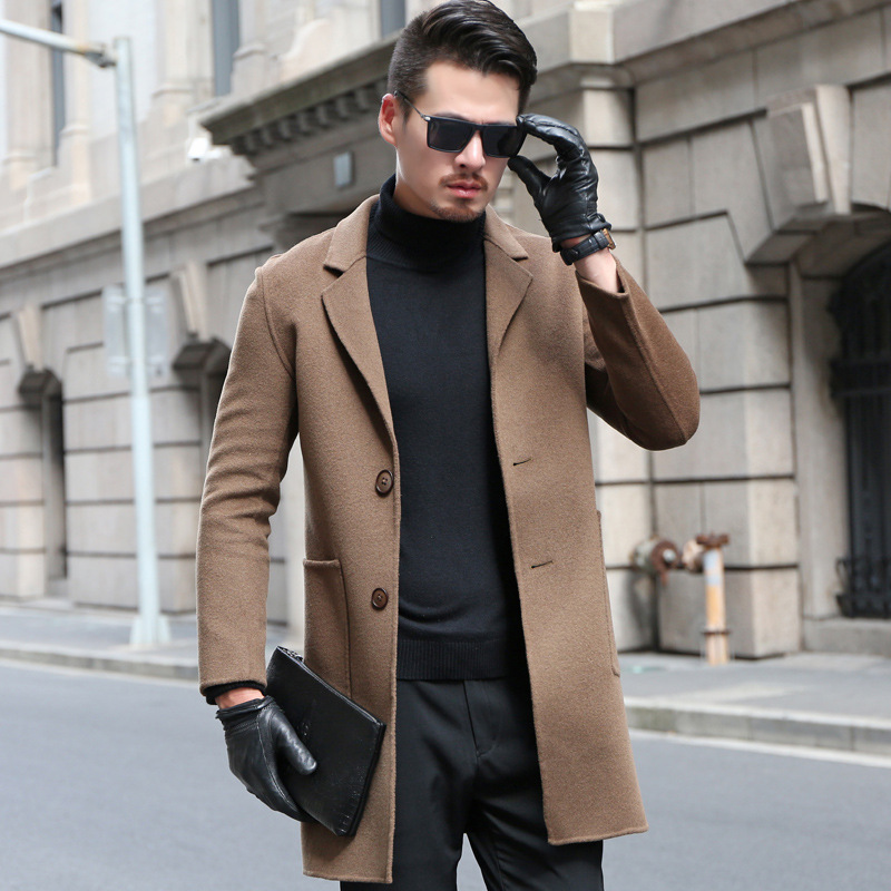 Men Double-Sided Cashmere Coat Slim Women's Autumn And Winter Mid-length Solid Color Wool Woolen Jacket Youth Casual Men'S Wear